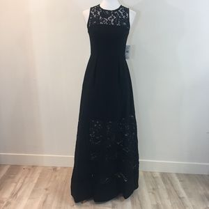 NWT Aidan Mattox Black Lace Evening Dress Size 2